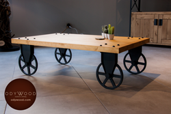 Industrial Style Wood Coffee Table with Wheels