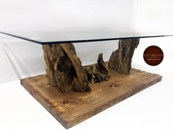 Cave Olive Wood Coffee Table with Glass