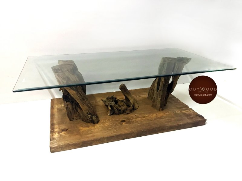 Cave Olive Wood Coffee Table with Glass'in resmi