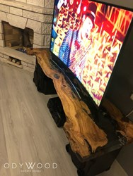 Olive Wood Epoxy TV Stand