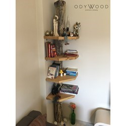 Wood Slab Corner Bookcase