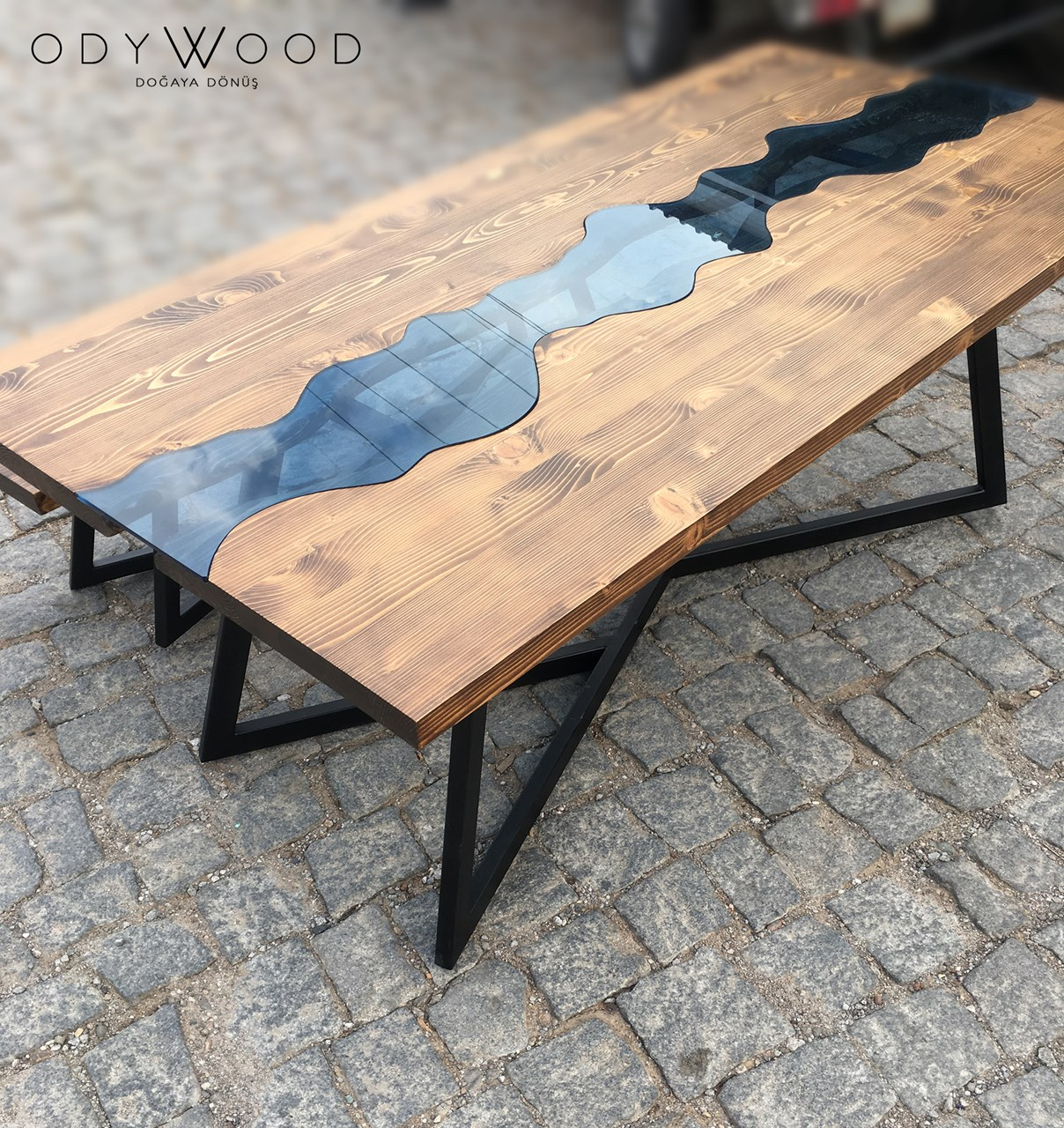 Riverart Natural Wood Dining Table No:4'in resmi