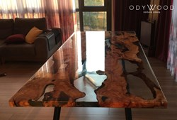 Live Edge Olive Slab Dining Table With Transparent Epoxy