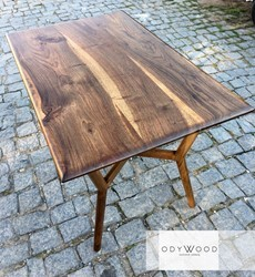 Dron Walnut Dining Table with Wood Leg