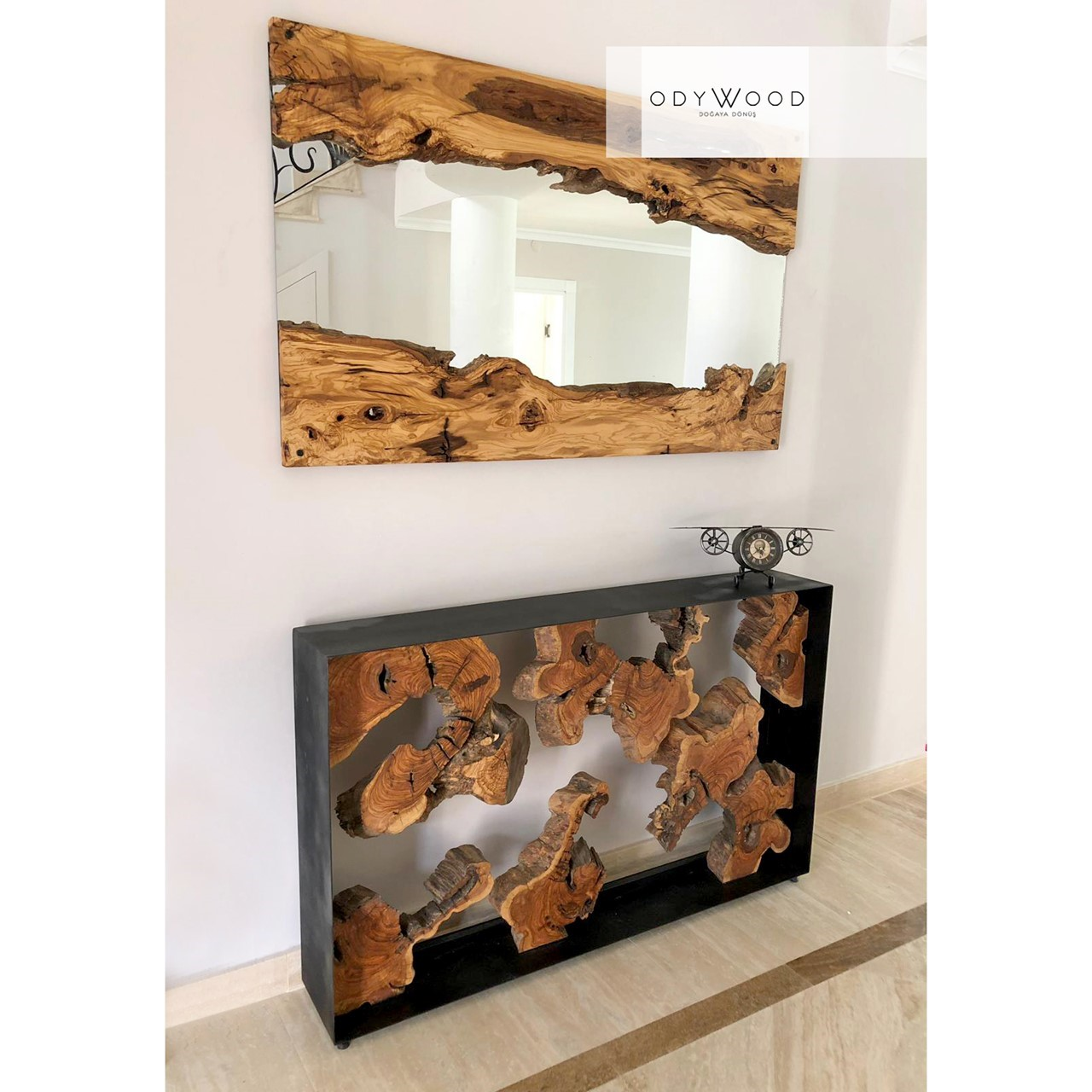 Live Edge Olive Mirror,  No: 4'in resmi