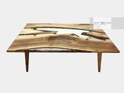 River Epoxy Resin Walnut Coffee Table