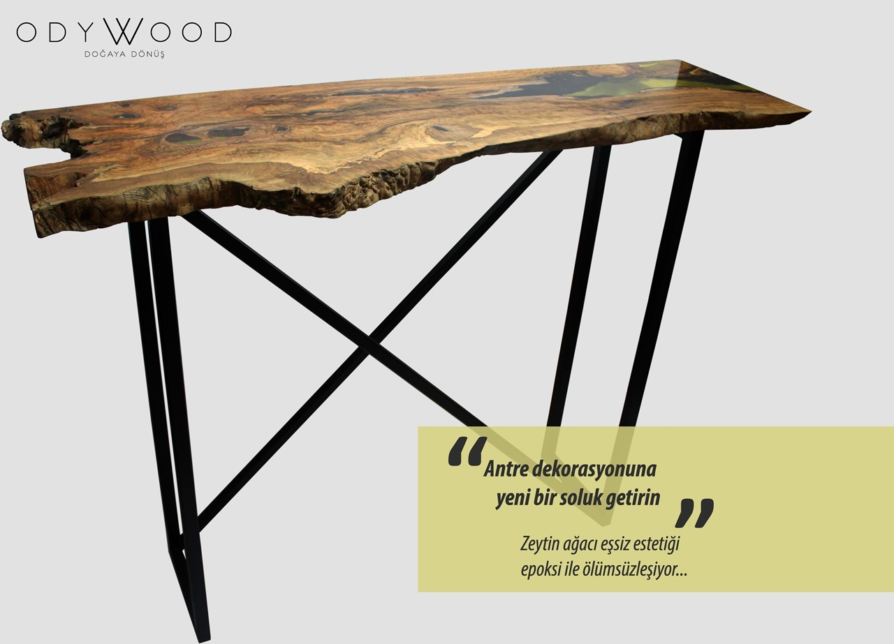 Epoxy Bistro Console Table'in resmi