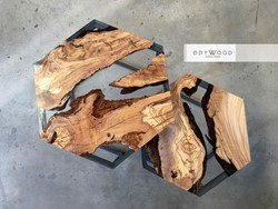 Hexagon Epoxy Resin Olive Wood Coffee Table