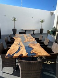 Live Edge Olive Wood Epoxy Resin Dining Table
