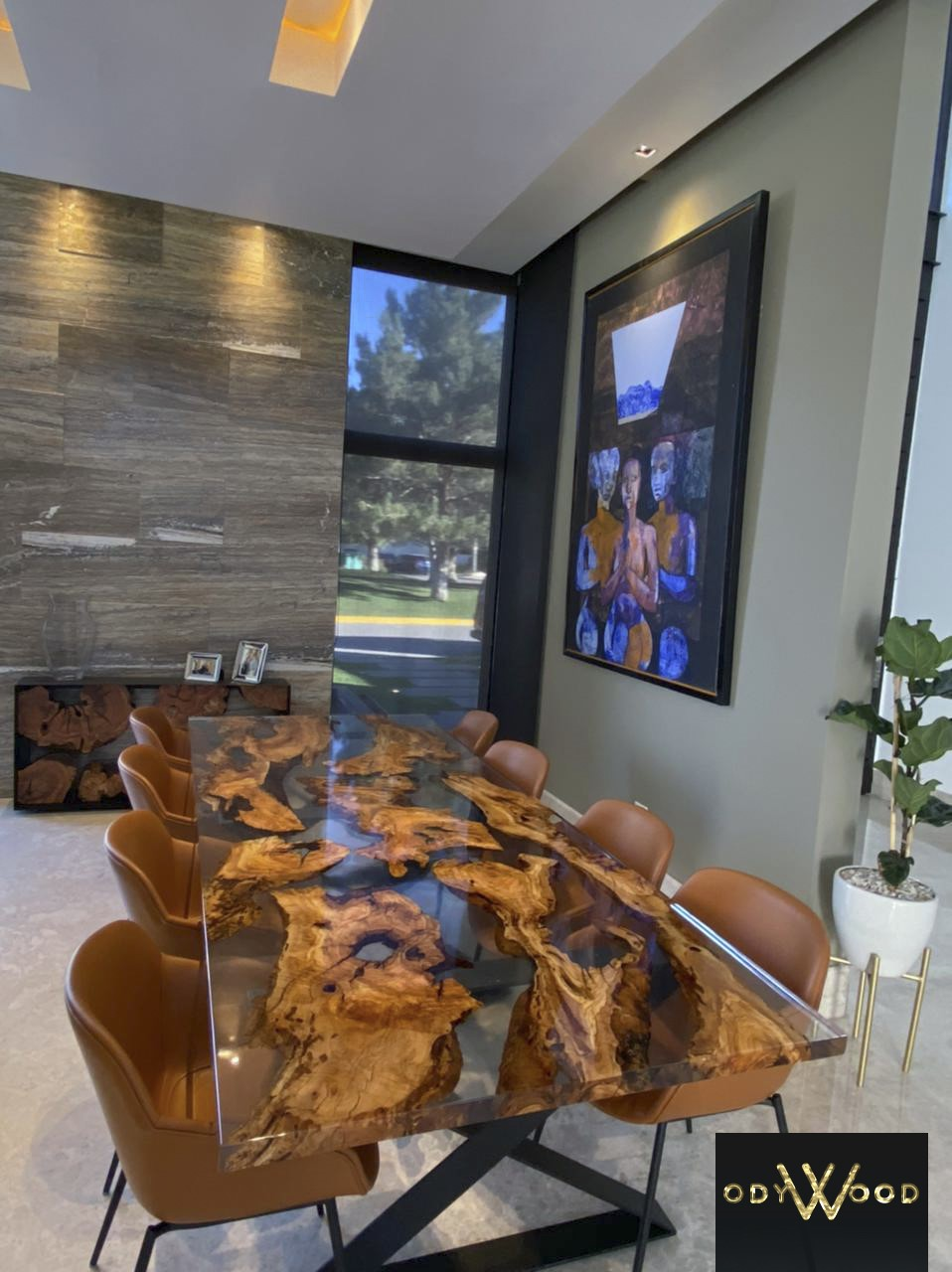 Epoxy Resin Table with Olive Wood Slabs'in resmi