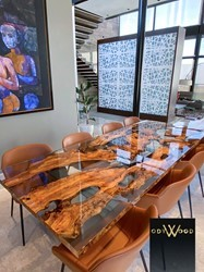 Epoxy Resin Table with Olive Wood Slabs